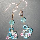 14k GF Green Blue Metallic Copper Swirl Clear, Pink Swarovski Crystal Earrings