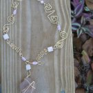Pink Sea Glass Rose Quartz Gold Necklace with Custom designed wire swirls, Zig Zags