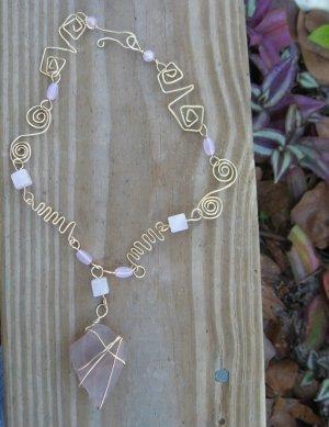 Pink Sea Glass Rose Quartz Gold Necklace with Custom designed wire swirls, Zig Zags