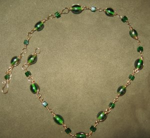 Gold Multi Wrapped Wire Irish Green Luster Glass Bead and Crystal Necklace