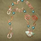 Genuine Green Sea (Beach) Glass Pendant, Hammered Copper Wrap, Zig-Zag, Swirls, Clay Bead Necklace