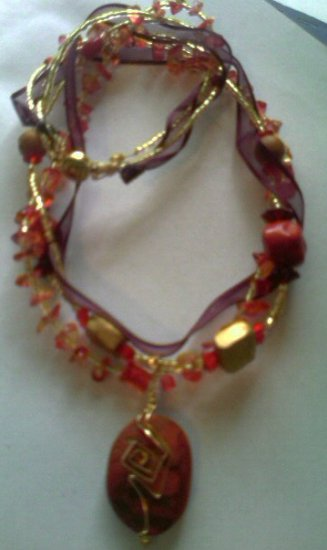 14k Gold Filled Wire Wrapped Red Sponge Coral Multistrand Necklace w/Glass Beads, Ribbon, Crystal