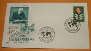 Artcraft 35th Anniversary of the United Nations FDC