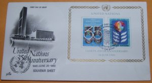 United Nations 35th Anniversary Souvenir Sheet, First Day Cover