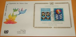 United Nations 35th Anniversary, Geneva Cachet, First Day Cover
