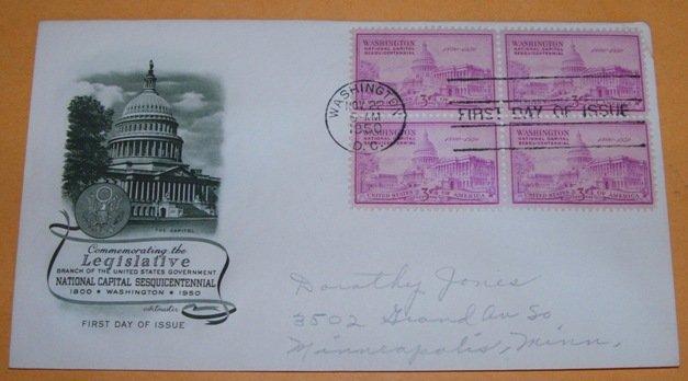 Legislative National Capital Sesquicentennial 1950, First Day Cover.