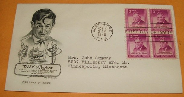 Will Rogers 1948 First Day Cover (Block of 4) FDC