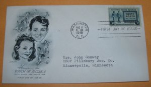 Honoring the Youth of America First Day Cover 1948 (FDC)