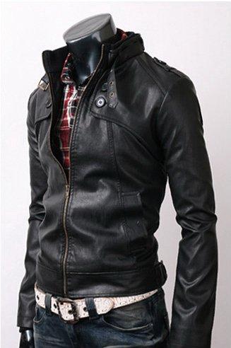 Men Button Pocket Leather Jacket Black