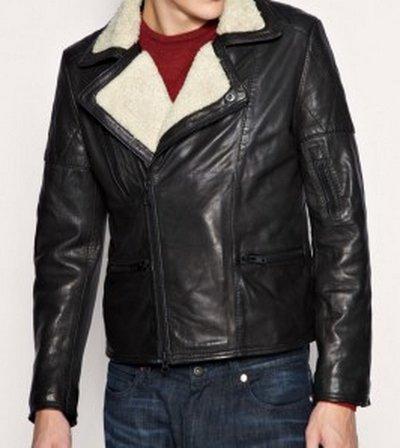 Men Fur Lined Black Leather Jacket