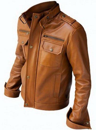 Men Vintage Brown Leather Jacket