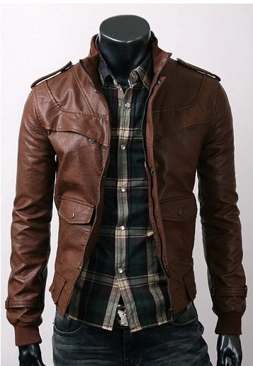 Slim Dark Brown Leather Jacket