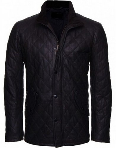 Men's Quilted Black Leather Jacket