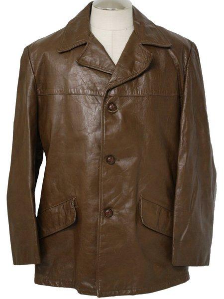 Men's Vintage Brown Leather Blazer