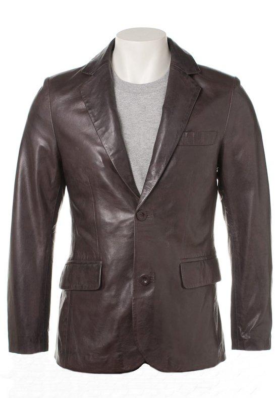 Men Two Button Brown Leather Blazer