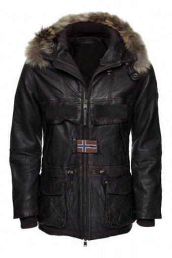 Men Luxury Hooded Leather Parka