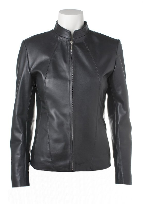 Women Classic Zipper Front Leather Jacket