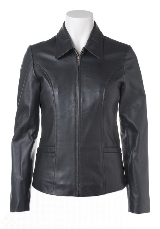 Women's Front Zipper Leather Jacket