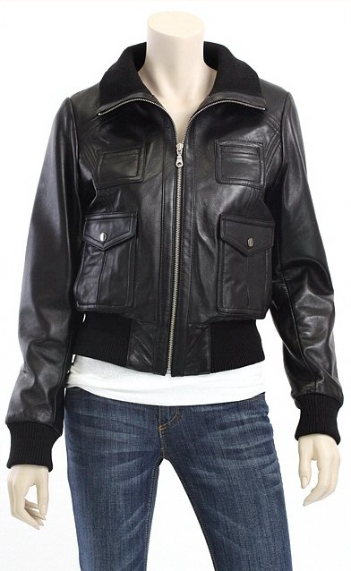 Women Rib Collar Bomber Leather Jacket