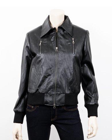 Women Casual Black Bomber Leather Jacket