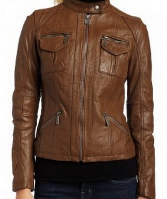 Womens Light Brown Biker Leather Jacket