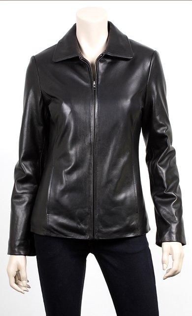 Women Zip Front Leather Blazer