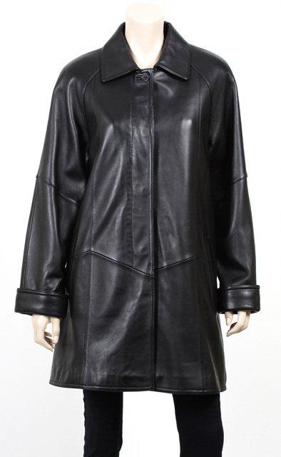 Wave Black Leather Coat
