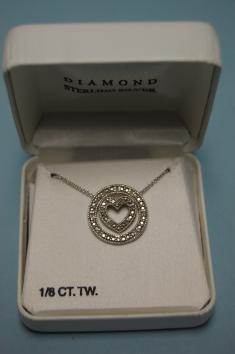 NIB New Box Diamond Circle of Love with Heart Necklace
