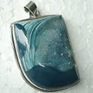 Khazana Blue Shades Teal Druzy Geode Pendant Sterling Silver New One of a Kind