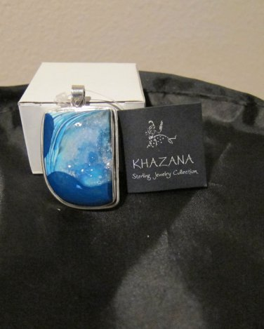 NWT Khazana Pendant Druzy Geode Large .925 Sterling Silver Blue Shades Teal New