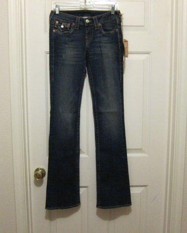 NWT $196 True Religion Becky Jeans 27 Flap Pocket New Boot Cut 35 inseam Drifter