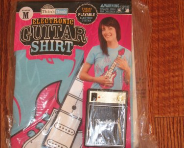 Electric Guitar Playable Based T-Shirt XL Think Gink New NIP Blue Pink