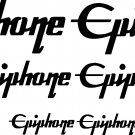 "EPIPHONE GUITARS VINYL DECAL STICKERS SET OF 6--2 @5""--2 @3"" & 2 @2"""