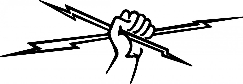 "ELECTRICIAN FIST & BOLTS VINYL DECAL STICKER 7.85"" WIDE!"