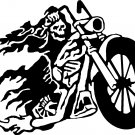 flaming skeleton biker riding motorcycle vinyl decal sticker