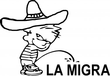 pee on piss on la migra border patrol vinyl decal sticker
