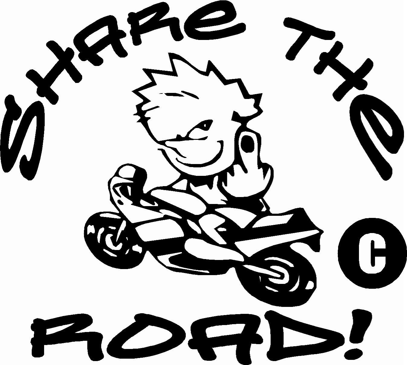 calvin on motorcycle scooter bike share the road giving finger vinyl sticker