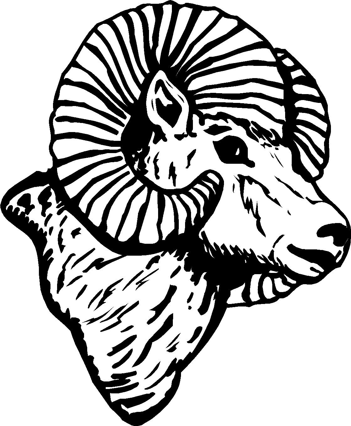 "RAMS HEAD VINYL DECAL STICKER 7"" TALL & DETAILED!!"