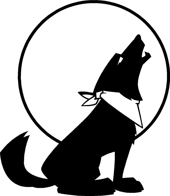 HOWLING DOG UNDER THE MOON DIE CUT VINYL DECAL STICKER