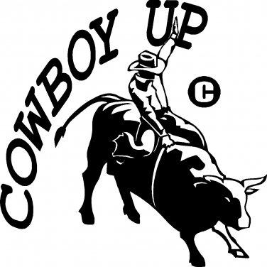 COWBOY UP BULL RIDER RODEO COWBOY VINYL DECAL STICKER