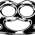 "fake brass knuckles vinyl decal sticker 7"" wide!"