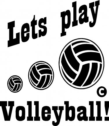 volleyball lets play! vinyl decal sticker