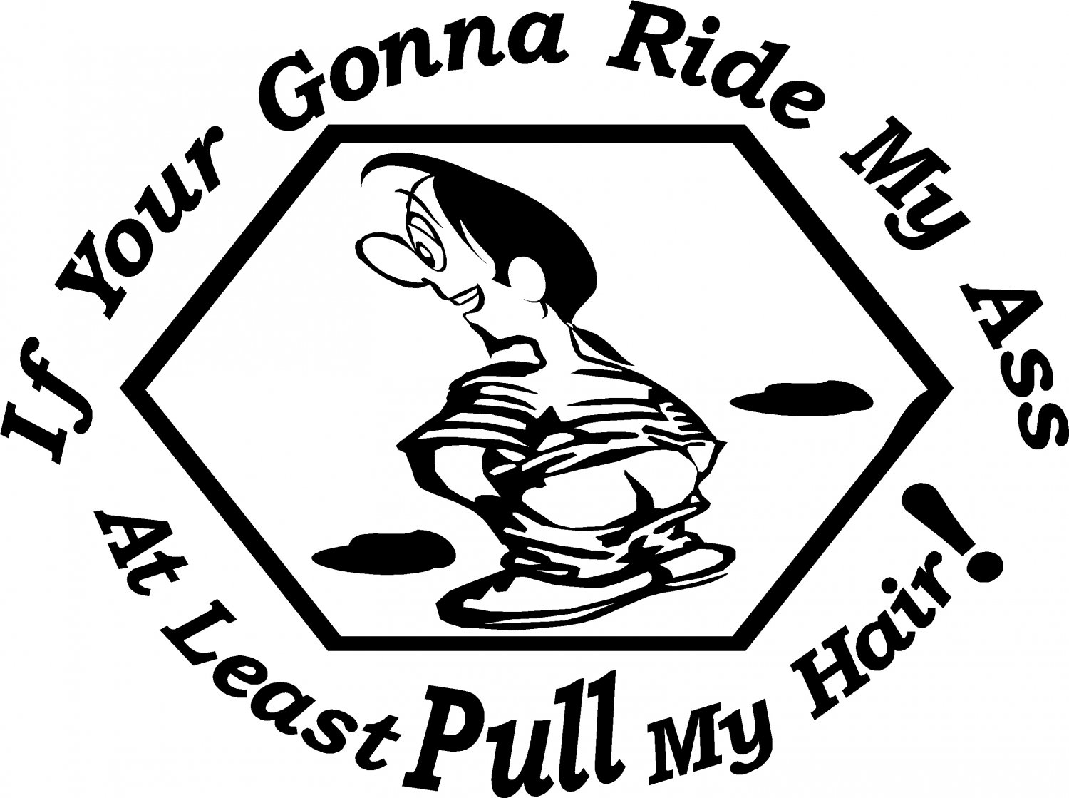 tailgating sticker if you're gonna ride my ass at least pull my hair! gay decal
