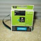 "dymo # 45019 1/2"" x 23' label tape black on green d1 slight use"