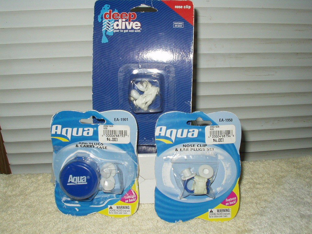 swimming nose clip and ear plug set + case lot of 2 aqua & deap dive brands