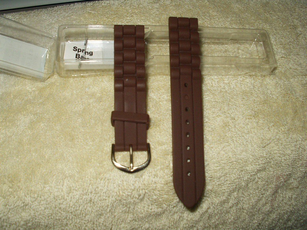 watch strap brown rubber waterproof 16-22 mm for all watches