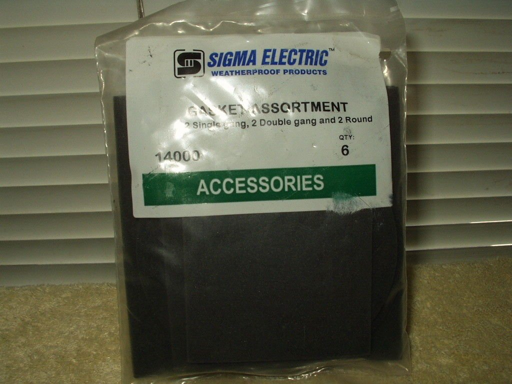 sigma electric # 14000 gasket assortment 2 ea single & double gang + 2 round