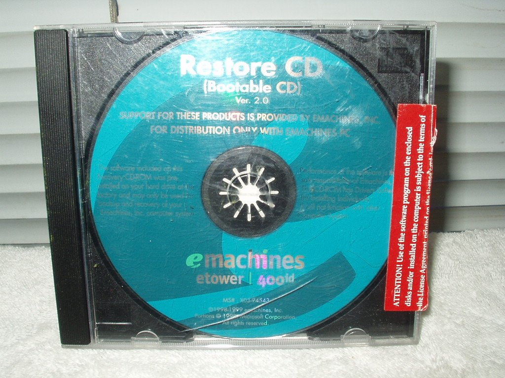 emachines computer 400id 400 id restore cd disk bootable
