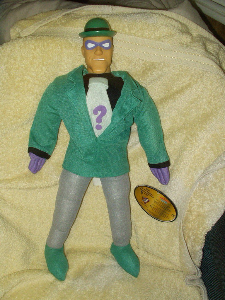 """RIDDLER FROM BATMAN 19"""" LICENSED PLUSH WITH PLASTIC HEAD FROM 1998"""
