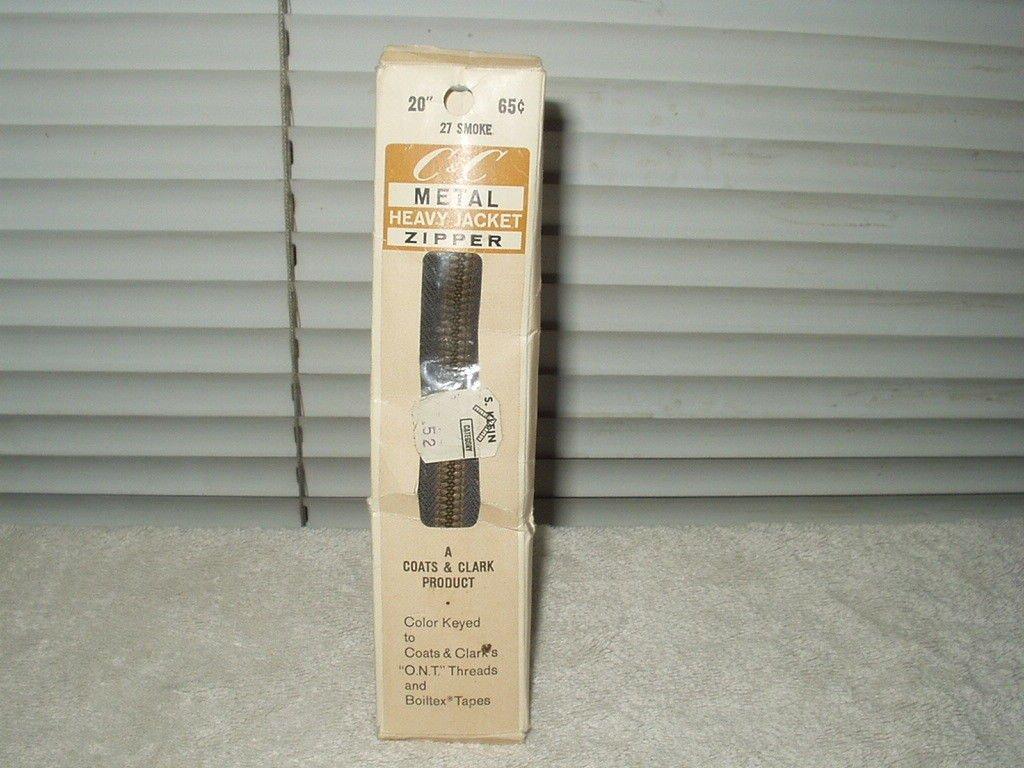 """vintage c&c coats & clark 20"""" # 27 smoke heavy jacket brass color metal zipper"""
